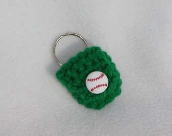 Crochet keychain Coin Cozy, coin holder, coin pouch, mini purse, coin purse, ring holder  - Green Baseball