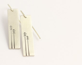 Drop Earrings in Sterling Silver with Pine Trees