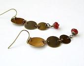long antiqued brass boho dangle earrings, 3 linked discs, carnelian bead drop - Barcelona