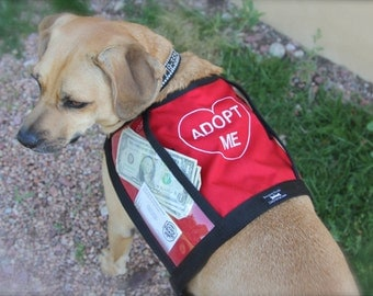 Size Medium ADOPT ME fundraising adoption vest with large clear pockets for donations, RED adopt me vest for fund raising events