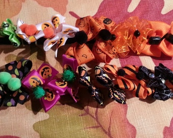 Halloween Puppy Dog Grooming Bows Assortment - 12 pair 24 bows