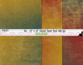 """12 x 12"""" Distressed Ombre Painted Teal Gold and Red Digital Scrapbook Papers Instant Download Set of 6 JPEG Commercial Use 1631"""