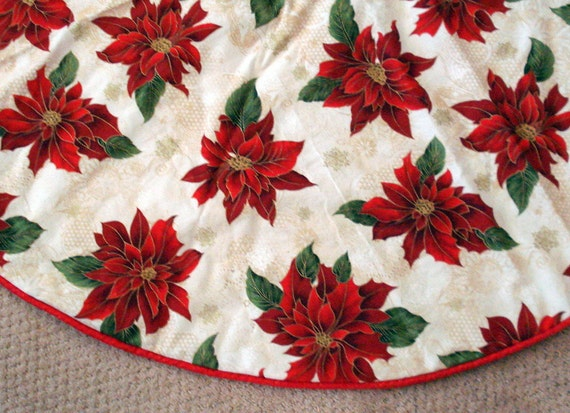 Beautiful Bold Red Poinsettia Christmas Tree Skirt, Christmas, Cream, Red, Floral Tree skirt, Gold