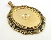 Vintage Gold Pendant Setting  // Oval Stone Setting // 30 x 40 mm stone Setting // KS140