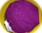 Lady's Hat, Hand Knit, Mixed Berry, One Size Fits Most