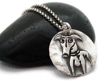 Greyhound jewelry - Greyhound pendant -Crazy Dog Signature Greyhound Pendant - Fine silver