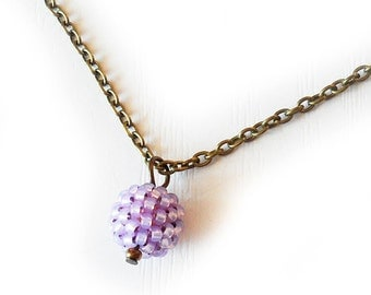 Purple Glass Bead Necklace - Sweet Berry Necklace - Lilac Small Bead Necklace