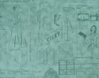 Sew Retro Tonal Green - By Makower - One Yard - 7.75 Dollars