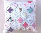 Baby Clothes Memory Pillow Cover CUSTOM ORDER Personalized Quilted Cathedral Window 18 Inch
