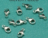 Silver-Filled 9mm Oval Lobster Clasp - Set of 10
