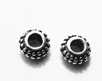 2 Beads, 9MM, Antique Sterling Silver, Large Hole, Bali Indonesia Beads
