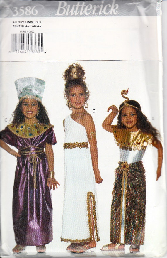 butterick 3586 girls cleopatra walk like an egyptian costume