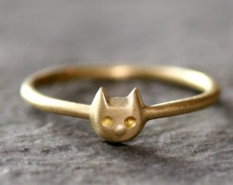 Baby Kitten Ring in Brass (READY TO SHIP)