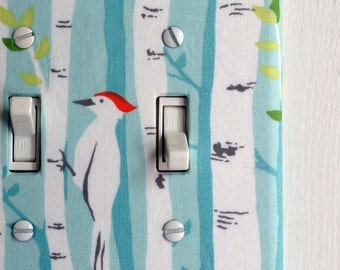 Double Standard Light Switch Plate Cover - blue with birch trees