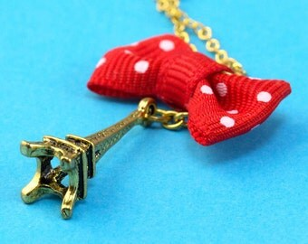 Eiffel Tower & Polka Dot Bow Necklace - Red White Gold - Retro 50s Kitsch and Romantic