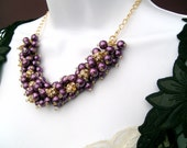 Plum and Rhinestone Necklaces For Bridesmaids Gifts, Wedding Jewelry, Pearl Beaded Necklace, Purple, Cluster Necklace, Chunky Necklace