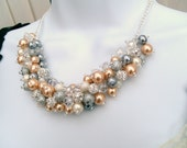 Champagne Pearl and Rhinestone Beaded Necklace, Bridal Jewelry, Cluster Necklace, Chunky Necklace, Bridesmaid Gift, Pearl Crystals Kim Smith