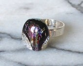 Sterling Silver and Dichroic Glass Cabochon Ring - Metallic Silver Sparkle Deep Purple Black and Plum