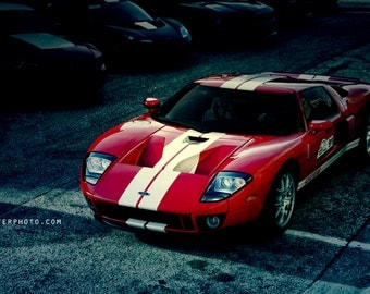 Red Ford GT - Automotive Art -  Home Decor