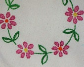 Pink Flower CIrcle Hand Embroidered Canvas Tote
