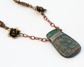Green Fused Glass Necklace with brass flowers beads and copper chain