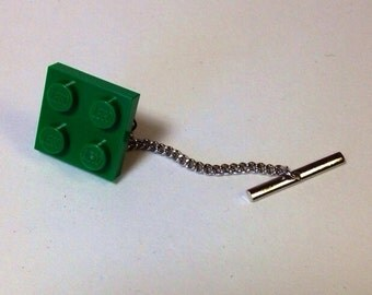 Tie tack made with LEGO® plate bright green