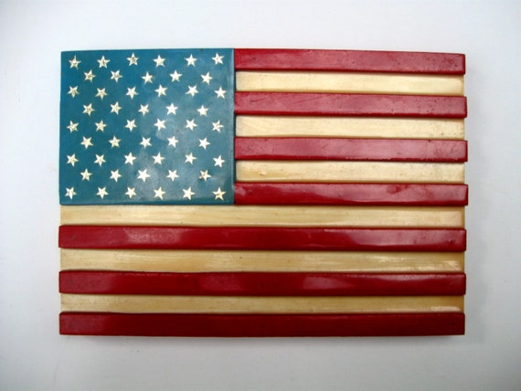 Wooden American Flag Folk Art Wall Plaque Painted Wood