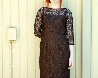 Vintage 1960s dark brown lace dress/ Mad Men style/