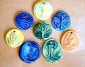 8 Handmade Ceramic Beads - Bright Mystical assortment for Fairs and Festivals