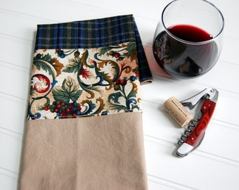 SALE Napa Cotton Hand Towel, free shipping, Hostess Gift, wine hand towel, grapes, navy & cranberry plaid tea towel, kitchen, masculine gift