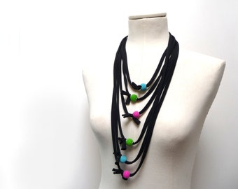 Eco-friendly infinity scarf / necklace - Black jersey with neon beads - Recycled multistrand jersey necklace - Upcycled Fiber Necklace