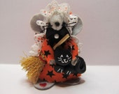 Halloween Witchy Poo Felt Mouse Broomstick Black Cat Orange Star and Moons