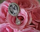 Wedding Bouquet Photo Charm, Oval Bridal Bouquet Charm, Swarovski Crystal Memory Photo Charm