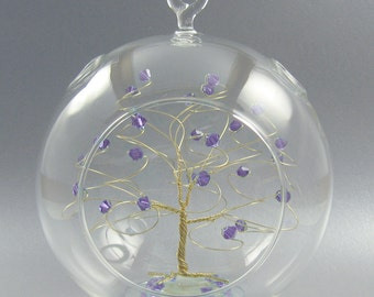 Christmas Ornament Tanzanite Purple Swarovski Crystal Elements and Gold June Crystal Christmas Ornament
