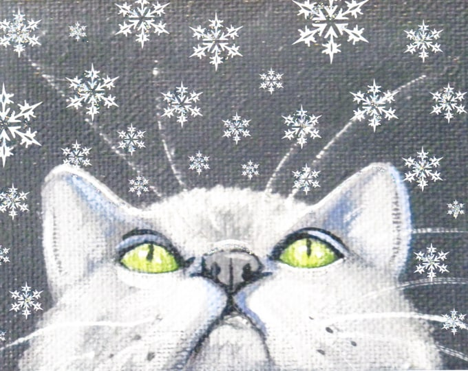 Snowflake kitty winter holiday card