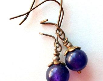 Genuine Amethyst 8mm Purple Vintage Style Earrings on Antiqued Brass