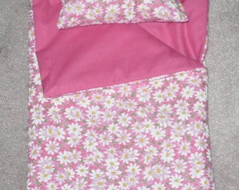 Handmade Sleeping Bag (Pink with White Daisies) fits 18 inch Doll Like American Girl