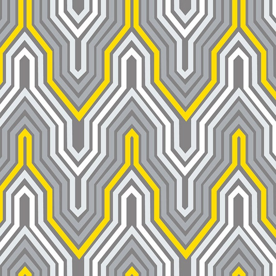 Fretwork Fabric: Camelot Fabrics FRETWORK In Yellow And Grey Yard