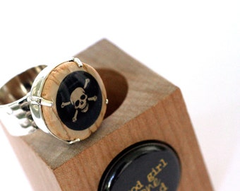 Skull and Crossbones Ring, Hammered Recycled Ring, Adjustable Ring, Wine Cork Jewelry by Uncorked