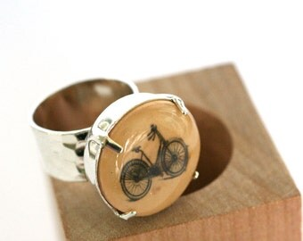 Bike Ring, Bicycle Jewelry, Gifts for Cyclists, Wearable Art Jewelry, Bicycle Ring, Art to Wear, Adjustable Ring, Vintage Bicycle Jewelry