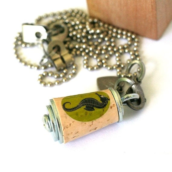 Seahorse Necklace - Upcycled Cork in Test Tube - Custom Stamped Initial Charm by Uncorked