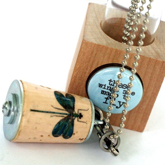 Dragonfly Necklace - Dragonfly Jewelry, Inspiration quote, Dragonfly Pendant, Stamped Metal Initial, Custom, Cork, Test Tube - Uncorked