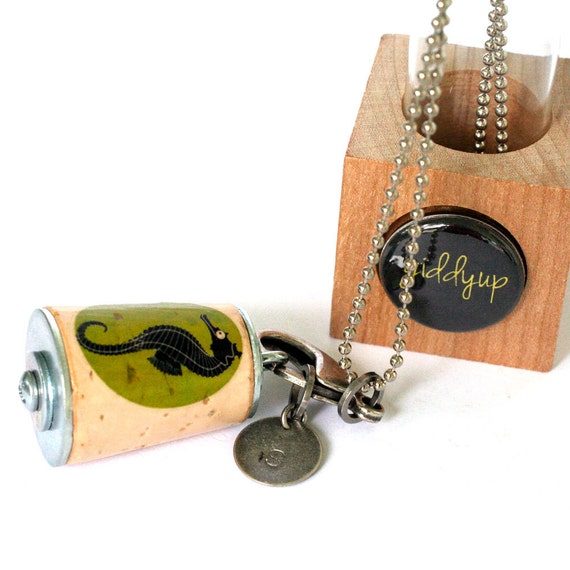 Seahorse Necklace - Seahorse Jewelry, Seashore, Chartreuse, Vacation, Beach, Necklace, Gift, Recycled Cork in Test Tube and Cube - Uncorked