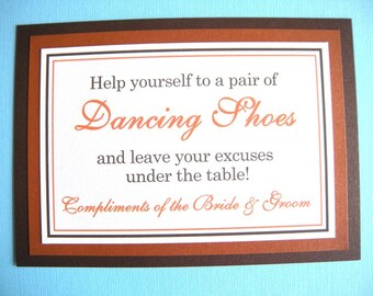 5x7 Flat Wedding Dancing Shoes Flip Flop Basket Sign in Shimmery Brown and Burnt Orange - Perfect for Fall, Autumn Wedding