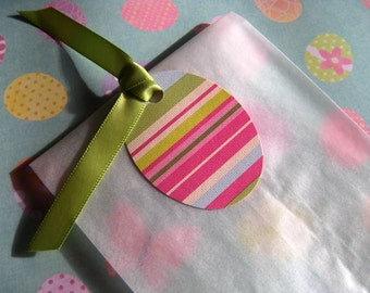 25 White Glassine Paper Favor Bags with Colorful Striped Easter Egg Shaped Tags and Satiny Green Ribbon - Easter Favor Treat Bags