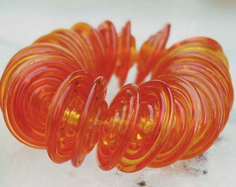 10 Tangerine Slim Discs , handmade glass beads orange transparente , lampwork beads by Beadfairy Lampwork, SRA