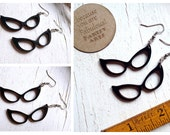 Vintage Cat Eye Glasses wood Earrings