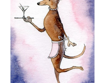 Whippet Greyhound lurcher dog 8x10 art print cocktail waitress drinks