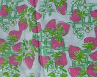 "Lilly Pulitzer fabric ""CREME FRAICHE""   STRAWBERRIES, 100% cotton,  18 in x 18 in"