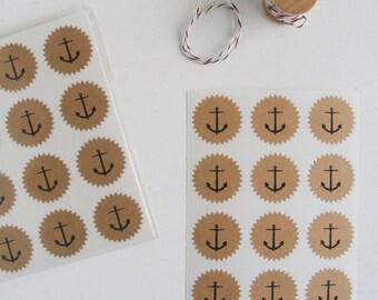 tiny kraft starburst stickers - anchors